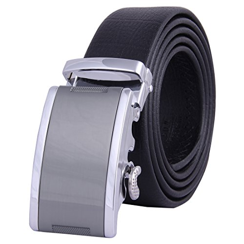 JINIU Men's Leather Belt Automatic Buckle 35mm Ratchet Dress Black Belts Boxed FG5 (Officer Fancy Dress)