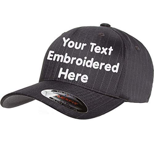 - Custom Hat Flexfit 6195P Pinstripe Cap. Embroidered. Your Own Text Curved Bill (Flexfit Pinstripe 6159P L/XL, Dark Navy/White Pinstripe)