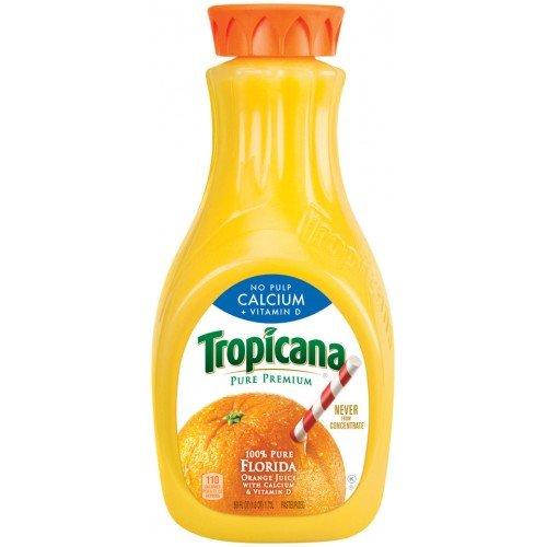 TROPICANA ORANGE JUICE PURE PREMIUM NO PULP + CALCIUM 59 OZ PACK OF 2