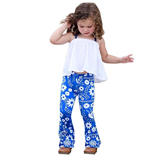 Goodlock Toddler Kids Fashion Pants Baby Girl Floral Stretch Leggings Bell-Bottoms Pants Flare Trousers (Size:4T)