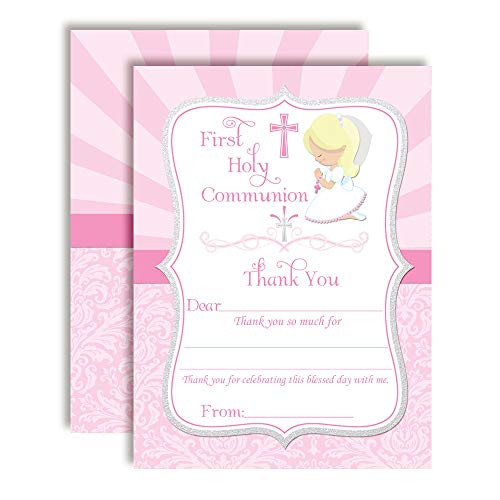 First Holy Communion Religious Thank You Notes for Girls Blond Hair, Ten 4