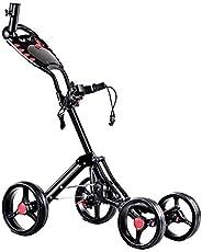 DORTALA Golf Cart, 4 Wheels Folding Golf Push Pull Cart with Drink Umbrella Holder Scorecard, Multifunctional