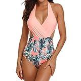 OTINICE Women's One Piece Monokini Swimsuits Halter Swimwear Tummy Control Bathing Suit Orange