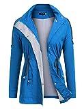 FISOUL Raincoats Waterproof Lightweight Rain Jacket Active Outdoor Hooded Women's Trench Coats Navy Blue Small