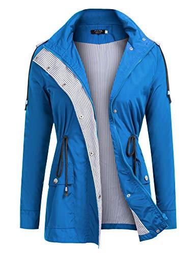 - FISOUL Raincoats Waterproof Lightweight Rain Jacket Active Outdoor Hooded Women's Trench Coats
