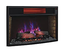 "ClassicFlame 32II310GRA 32"" Curved Infrared Quartz Fireplace Insert with Safer Plug by Twin Star International, Inc."