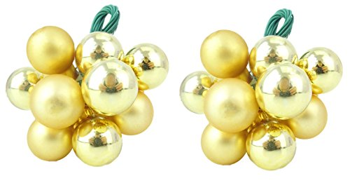 Two Shiny Gold and Matte Gold Coloured Small Bauble Clusters - Perfect Christmas Hanger