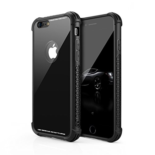 Phone Case Compatible iPhone 6 plus, iPhone 6S plus, Tempered Glass Back Cover and Soft Silicone Rubber Bumper Frame Shock Absorption Anti-Scratch Compatible iPhone 6 plus, L11