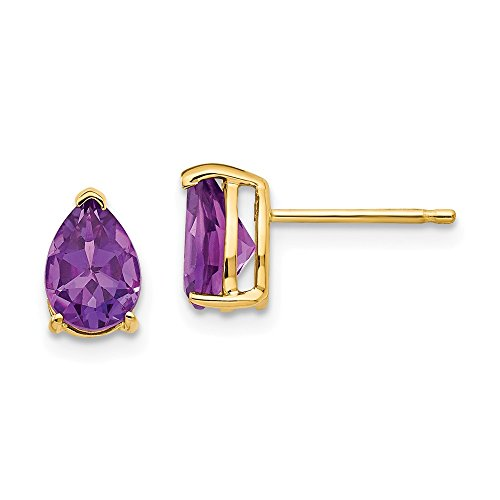 (14k Yellow Gold 7x5mm Pear Purple Amethyst Post Stud Earrings Birthstone February Gemstone Fine Jewelry Gifts For Women For Her)