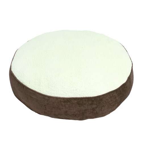 Happy Hounds Scout Deluxe Medium 36-Inch Round Dog Bed, Latte/Sherpa, My Pet Supplies