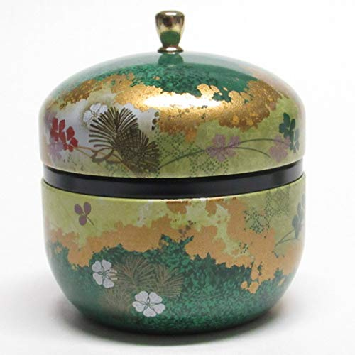 Japanese tea canister tin Suzuko/double lid/air-tight / 3.5 oz (150g) green tea (green)