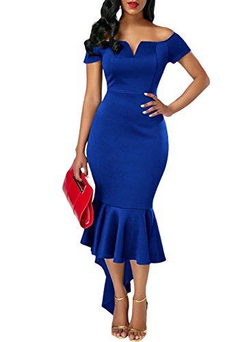 Ladies Sexy Dresses (Cyerlia Women's Off The Shoulder Evening Mermaid Midi Dress Plus Size Formal Ladies X-Large Blue)