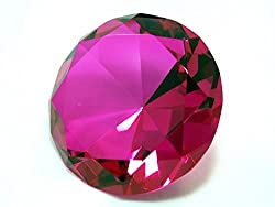 Hot Pink Diamond Shaped Glass Crystal Paperweight