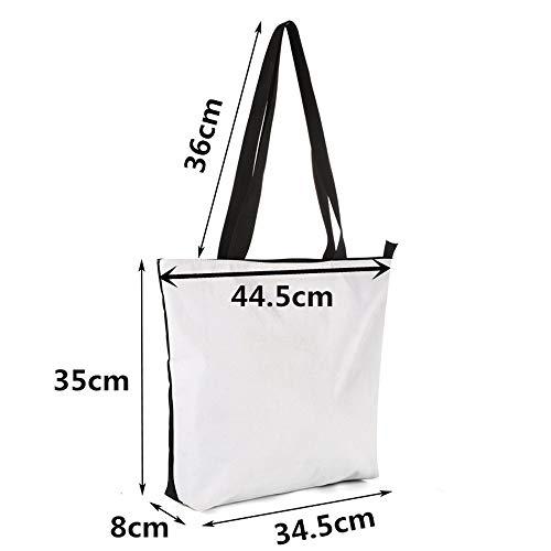 di Libri a Fashion School Weohau mano Canvas Borse Bag Zipper stampato Pouch Shopping Foglie Maniglie viaggio Casual Portable 3D CsrdtQh
