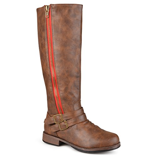 Journee Collection Womens Regular Sized and Wide-Calf Side-Zipper Buckle Knee-High Riding Boot Brown 8.5 Wide Calf