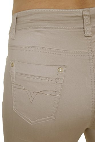 ICE (1479-3) Jeans recortadas Chinos beige ampliable con Revers