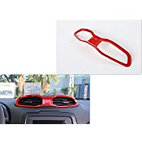 FMtoppeak ABS Inner Central Air Outlet Vents Cover Frame Trims for Jeep Renegade 2014 UP Red