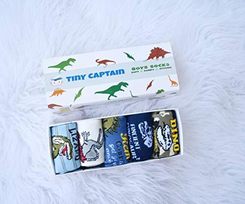 Tiny Captain Boy Dinosaur Socks 4-7 Year Old Boys Crew Cotton Sock Perfect Age 5 Gift Set (Medium, Green And Grey) by Tiny Captain (Image #8)