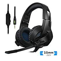 Rodzon Gaming Headsets PS4, PC, Xbox One Controller,Foldable Noise Cancelling Ps4 Headsets Microphone, Bass Surround, Soft Memory Earmuff Laptop Mac Nintendo Switch Games