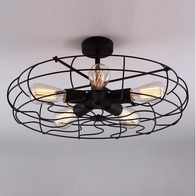 hua Novelty LOFT Industry Wrought Iron Fan Close to Ceiling Light