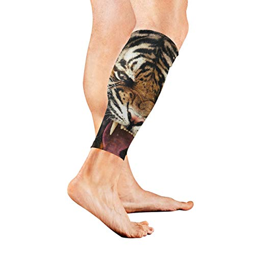 Runner Tigers Football (Animal Tiger Sports Calf Compression Sleeve Strong Calf Support for Runners(1 Pair))