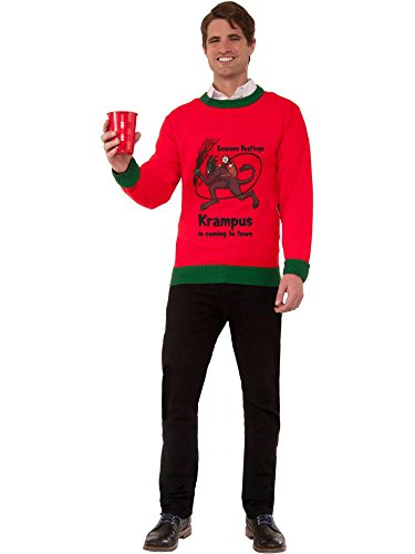 Adult Krampus is Coming to Town Ugly Christmas Sweater Costume ()