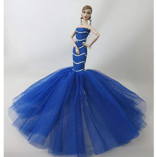 ETbotu Abito da sposa a coda di pesce con stampa a strisce blu Royal 30CM (non comprese le bambole)