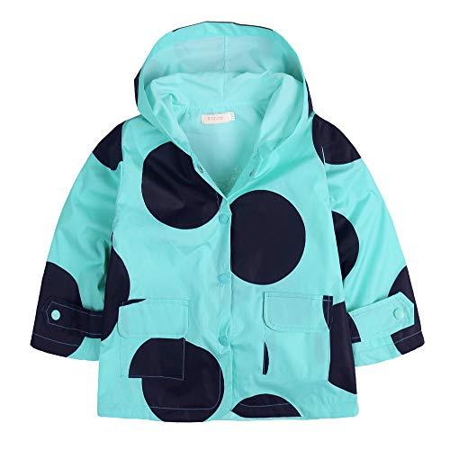 Baby Dot Jacket Polka - Zaclotre Kids Boys & Girls Rain Jacket Raincoat with Hoodie Waterproof Outwear Light Blue