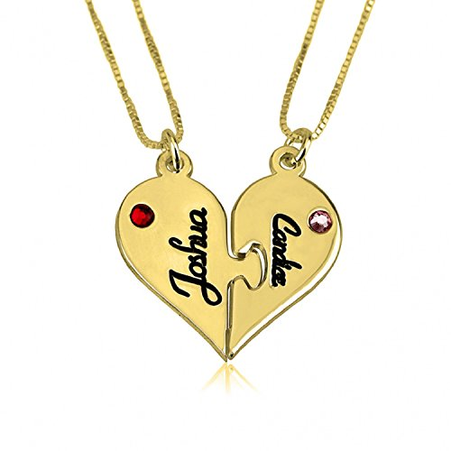 Personalized Custom 24k Gold Plated Breakable Heart Couple Necklace Set Jewelry (18) by Jeweleen