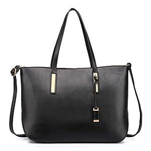 Miss Lulu Handbag Black Women's Faux Leather Adjustable Shoulder Tote Bag