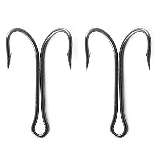 Luengo 30pcs/lot 9908 Black High Carbon Steel Classic Double Fishing Hook Saltwater Small Fly Tying Fishing Hook (2#)