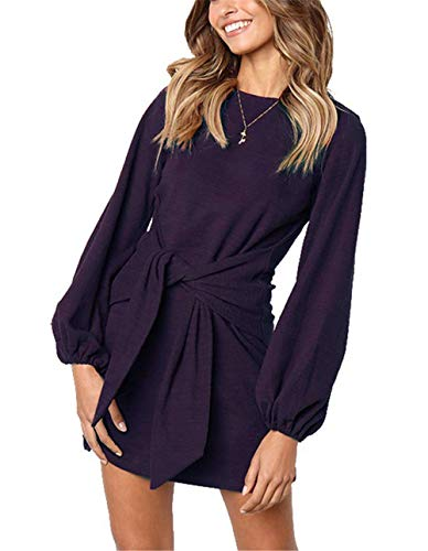 MIDOSOO Womens Casual Round Neck Puff Sleeve Solid Pencil Dress with Belt Purple L