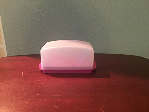 (Tupperware Impressions Butter Dish Sheer Cover and Pink Base)