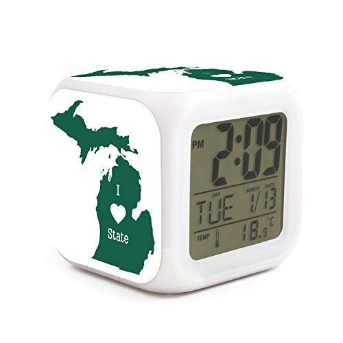 Desk Michigan State Clock - HOTMN I Love Green Michigan State Style Fashion Multifunction Digital Desk Alarm Clock with LED Touch Light Desk Watch Table Clock