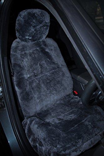 Sheepskin Car Seat Covers, Premium Set of 2, Genuine Australian Sheepskin Front, Universal Size, Back Storage Pocket, Stylish Design, Gray Color by Eden & Main (Image #8)