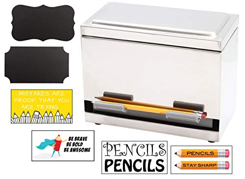 2Fold Supply Stainless Steel Pencil Dispenser - For Bulk Pencil Storage and Dispensing - Custom Pencil, Inspirational, Classroom and Chalkboard Marker Labels Included - Holds up to 200 Pencils (Tigers Black Chrome Pen)