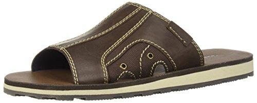 Dr. Scholl's Shoes Men's Basin Slide Sandal, Brown Canvas, 10.5 M US