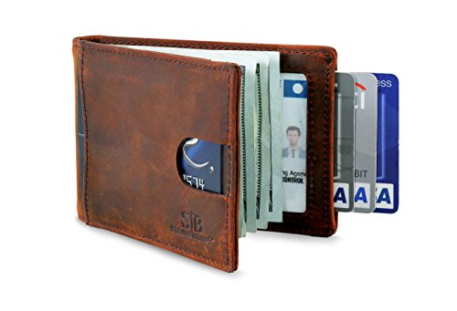 Travel Wallet RFID Blocking Bifold Slim Genuine Leather Thin Minimalist Front Pocket Wallets for Men Money Clip - Made From Full Grain Leather (Canyon Red 1.0)