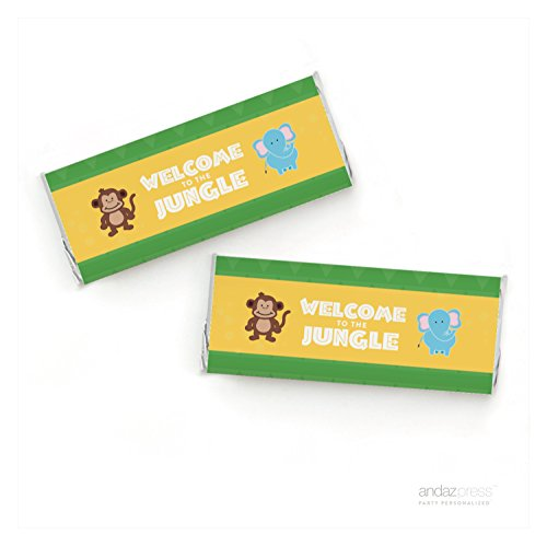 Andaz Press Jungle Safari Adventure Birthday Collection, Welcome to the Jungle Chocolate Bar Labels, Fits Hershey's Chocolate Bars, 4-Pack