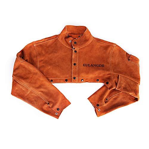 EULANGDE Premium Split Welders Heat Resistant Leather Cape Sleeve,Adjustable Cuffs, Adjustable Collar, M L XL XXL XXXL for Men & Women (Large)
