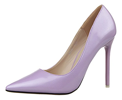 T&Mates Womens Sexy Pointy Toe Stiletto Pumps Slip-on Dress High Heels Basic Shoes for Party Wedding (7 (Child Purple Furry Boot Covers)