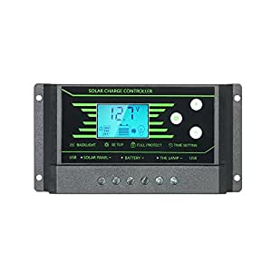 Decdeal 10A/20A 12V/24V Auto LCD Solar Charge Controller Dual USB 5V Output Overload Protection