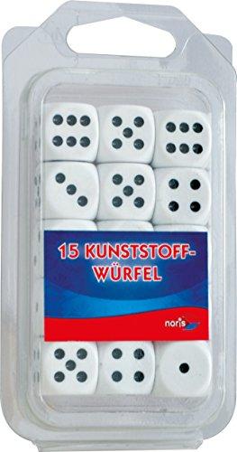 Noris Spiele 606154361, 15 weiße Kunststoff Augenwürfel