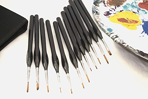 Miniature Paint Brushes Professional Detail Set 12pc- Zipper case Included, Great for Paint by Numbers for Adults, Miniatures, Rock Painting, Dollhouse kit, Acrylic, Oil Paints
