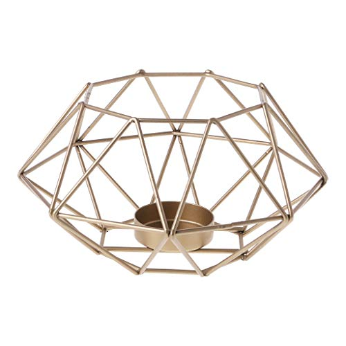 (puhoon Nordic Style 3D Octagon Geometric Candlestick, Simple Metal Candle Tea Light Holder, Wedding Valentine's Day Home Decor (Gold) )