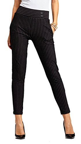 Slim Stripe Pant (Conceited Women's Dress Pants - Slim and Bootcut - 7 Colors - by (Large, Slim Buttons Pin Stripe Black))