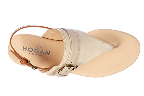 Hogan infradito donna in pelle valencia vintage beige
