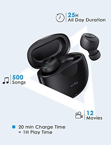 HolyHigh True Wireless Earbuds 5.0 Bluetooth Headphones Lightweight True Wireless Sports Headphones Small Waterproof Headphones in-Ear with Hi-Fi Stereo, Deep Bass, Mic & Portable Charging Case