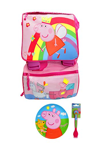 Peppa Pig Extensible BackPack, Officially Licensed with Dish Set (Fairy Peppa Pig)