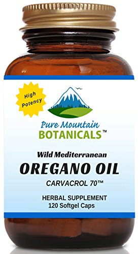 High Potency Wild Oregano Oil - 120 Vegetarian Capsules - Now with 510mg Mediterranean Oil of Oregano (70% Carvacrol) by Pure Mountain Botanicals